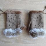 перчатки коричневое новые оригинал мех заяц камни