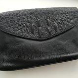 Женская сумка с крышкой черная натуральная кожа