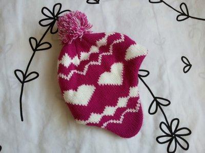 Крутая розовая шапка в сердцах на 8-12 лет, 128-152 см
