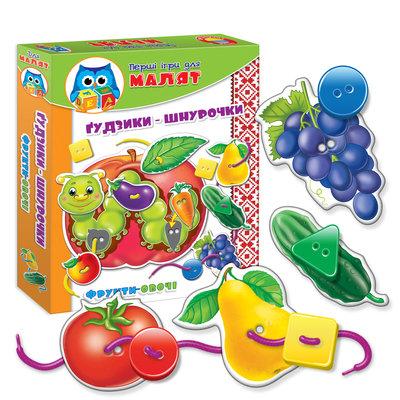 Для малышей «Пуговки-шнурочки. Фрукты-Овощи» VT1307 Vladi Toys влади тойс