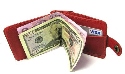 Кожаный кошелек Зажим для денег с отделом для мелочи Красный