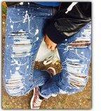 by KOKO4KA ручная работа стильные рваные потертые джинсы кляксы