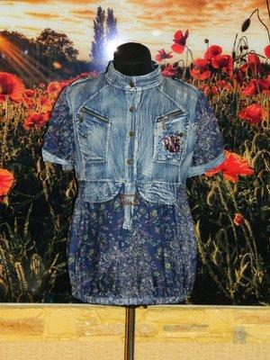Новая женская рубашка - блуза джинс с шифоном р. 44-46